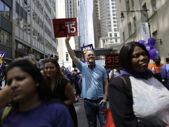 The New York minimum-wage increase proposal would be