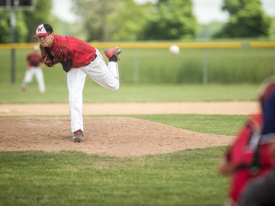 Zack Thompson delivers a pitch during Wapahani's 5-1
