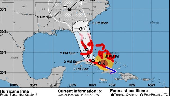 The official forecast track for Irma as of 8 p.m. Thursday.