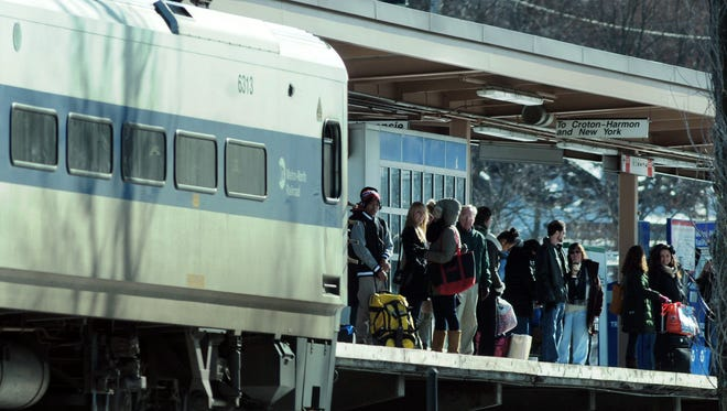 A southbound Metro-North Railroad train arrives in Beacon.
