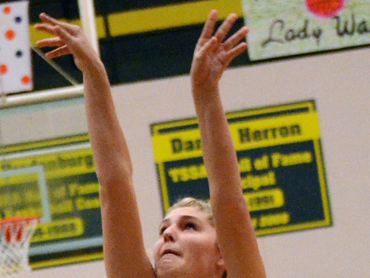 Gallatin High junior forward Katie Whitefield releases a first-quarter jump shot. Whitefield scored four points in the Lady Wave's 65-41 victory over visiting White House on Monday evening.