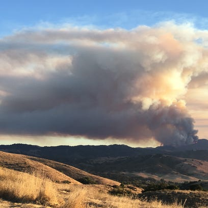 View of the Loma Fire from the San Jose area on Monday.