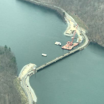 An aerial photograph of the West Brook Road bridge