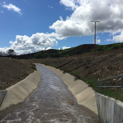Water diverted from the Ventura River flows down a