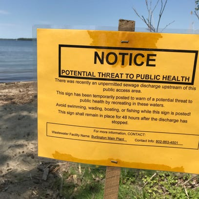 A sign on Blanchard Beach at Oakledge Park warned Burlington