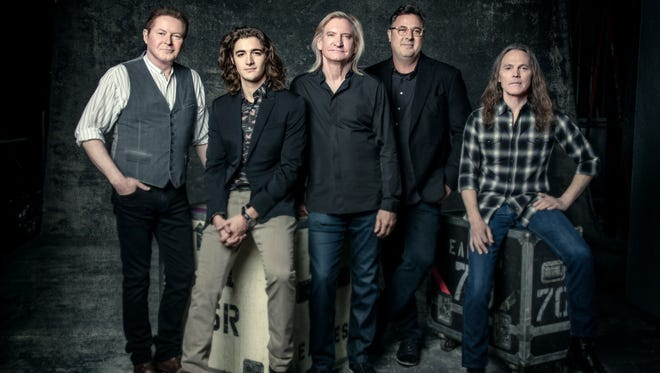 The Eagles, 2017. Left to right: Don Henley, Deacon Frey, Joe Walsh, Vince Gill, Timothy B. Schmit.