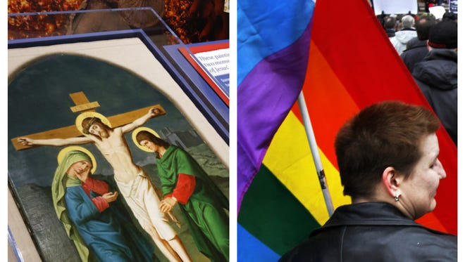 Left: A painting of Christ on the cross. Right: Cory Cutsinger, Carmel, holds up a rainbow flag during the pro-gay rights rally in 2011.