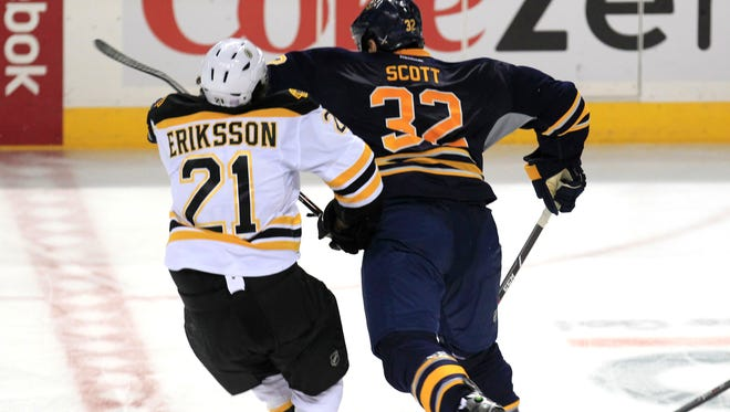 This hit on Bruins forward Loui Eriksson landed Sabres forward John Scott with a seven-game suspension.