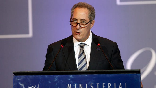 U.S. Trade Representative Michael Froman deliver his speech during the plenary session of the Ninth Ministerial Conference of the World Trade Organization (WTO) in Bali, Indonesia, Wednesday.