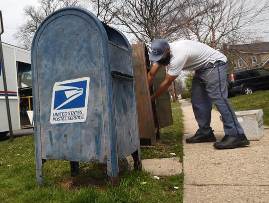 A letter carrier in Bloomfield, NJ