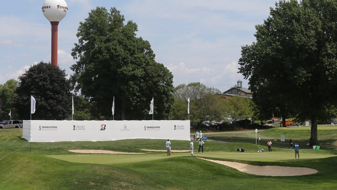 The 18th green and iconic water tower at Firestone Country Club's famed South Course are shown during the 2020 Bridgestone Senior Players Championship without fans in attendance on Aug. 14, 2020, in Akron. Firestone hopes to host the 2022 PGA Championship. [Phil Masturzo/Beacon Journal]