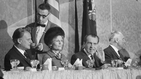 President  Nixon and First Lady Pat Nixon attend the