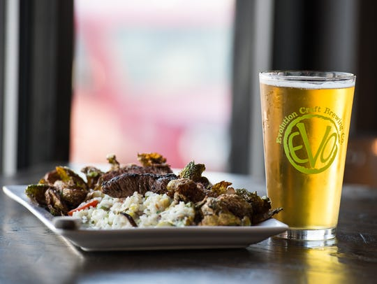The Chef's Risotto with Steak at Evolution Brewery