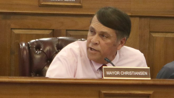 Dover Mayor Robin Christiansen responds to a request by Fourth District Councilman Roy Sudler Jr. to step down as chair of the police chief selection committee. The mayor said he would not step away.
