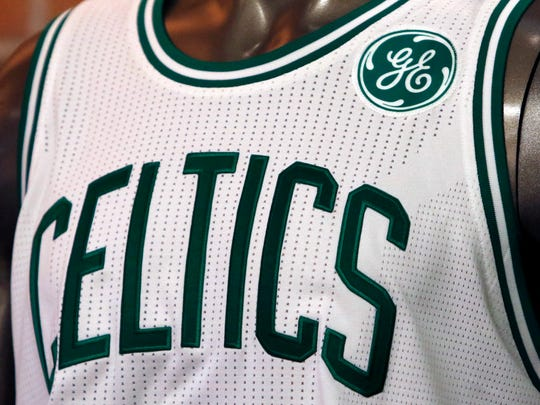 A General Electric logo patch is displayed on a Boston Celtics uniform during a news conference Wednesday, Jan. 25, 2017, at GE's headquarters in Boston.