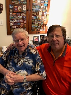 John Graecen Jr. (left), 90, is a patient in the memory care wing of Waltonwood Cherry Hill in Canton. At right is his son, John Graecen III of Plymouth Township.