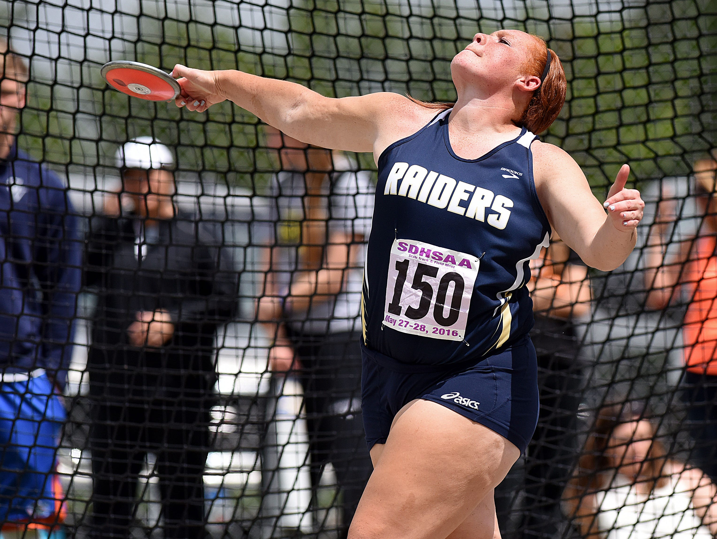 Gayville-Volin's Traia Hubbard competes in the Class B girls discuss field event during the 2016 SD State Track and Field Meet at Howard Wood Field on Saturday, May 28, 2016.