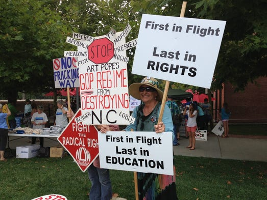 Protesters gets ready for Mountain Moral Monday. (Bill Sanders 8/4/14)