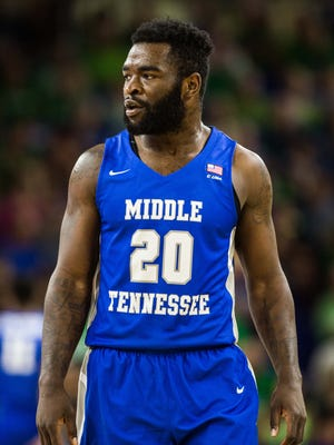 MTSU senior guard Giddy Potts looks on during a game against Florida Gulf Coast at Alico Arena in Fort Myers, Fla., on Dec. 2, 2017.