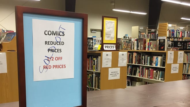 A sign sitting in the Friends of Poughkeepsie Public Library District Bookstore Saturday informs shoppers that the comic book sale is sold out. Roughly 5,000 books were sold.