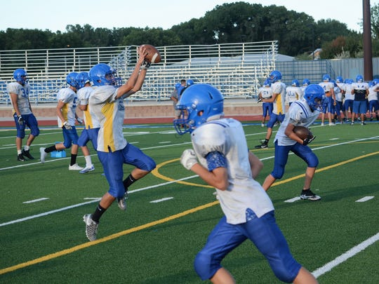 Bloomfield, shown here practicing on Thursday, Aug. 10, open the new season 7 p.m. Friday at home against Belen.