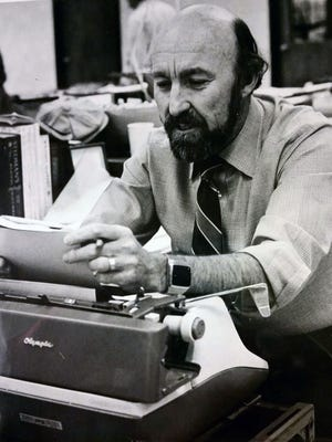 Jack Swanson at work in the Arizona Republic newsroom, circa 1978. The longtime journalist worked in Washington, Arizona, California and the Pacific Rim during his career.