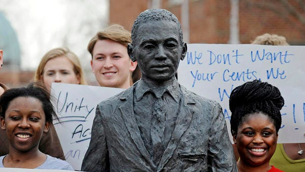 Ole Miss students gather to protest the defacing of the James Meredith statue and to decry the racism.