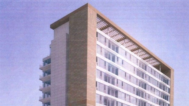 A rear view rendering of the proposed Harold's Square.