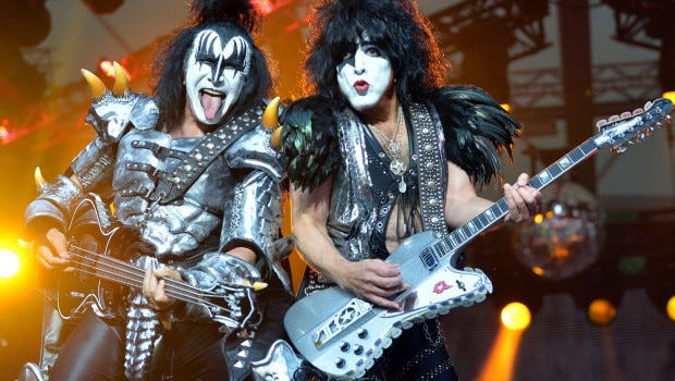 Britta Pedersen/Special to The Register Bassist Gene Simmons, left, and singer Paul Stanley of the American band Kiss perform on stage in Berlin, Germany. Bassist Gene Simmons, left, and singer Paul Stanley of the American band Kiss perform on stage in Berlin, Germany.