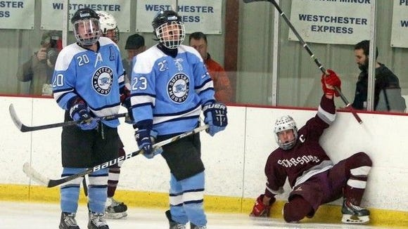 Suffern takes on Scarsdale during the Section 1 Division 1 championship game against Suffern at Brewster Ice Arena.