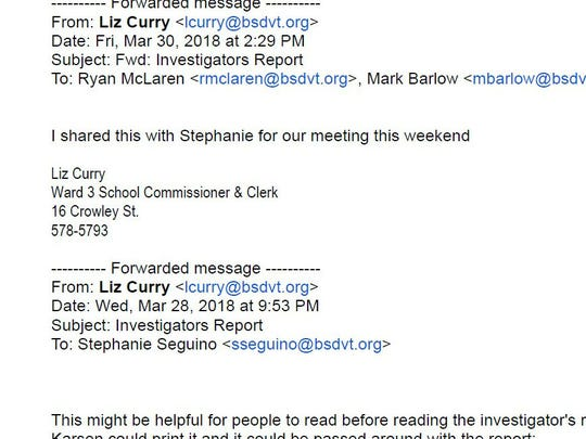 Email clip from Liz Curry to fellow board members on March 30, indicating the expectation of a report that weekend.
