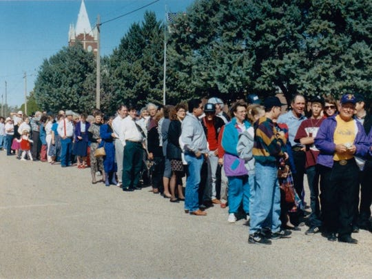 Some of the 3,500 for dinner, games and entertainment at the Rowena Fall Festival Nov. 1, 1992.