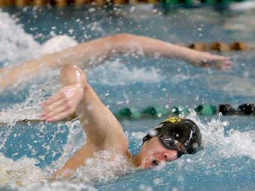 New Berlin's Kevin Adams swims the 200-yard freestyle