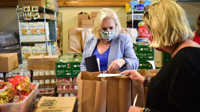 U.S. Sen. Kirsten Gillibrand visits the George R. Staley Elementary School food pantry Wednesday, Sept. 2, 2020, in Rome to advocate for her proposal to expand the Pandemic Electronic Benefit Transfer (P-EBT) program as millions of New Yorkers struggle with food insecurity due to the pandemic.