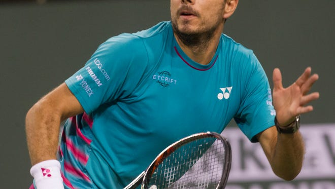 Third seeded Stan Wawrinka cruised in his first match at Indian Wells on Saturday.