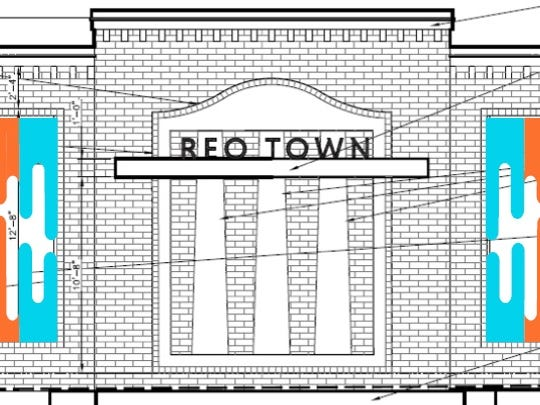 Michigan Imagery provided this preliminary sketch of a mural that would adorn an East Hazel Street wing of the Lansing Board of Water & Light central substation in REO Town.