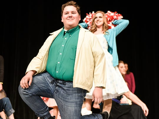 "Alexander Gingrich, a junior, plays Lance as the cast and crew of Palmyra Area High School's production of ""Grease"" rehearses on Monday, Feb. 27, 2017."