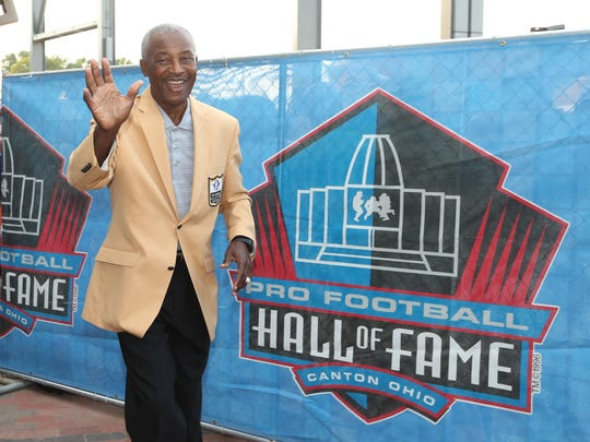 Aug 5, 2017; Canton, OH, USA;  Miami Dolphins former receiver Paul Warfield arrives during the Professional Football HOF enshrinement ceremonies at the Tom Benson Hall of Fame Stadium. Mandatory Credit: Charles LeClaire-USA TODAY Sports