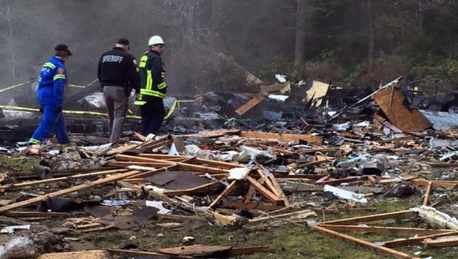 An explosion destroyed a home Feb. 23, 2016, in Port Orchard, Wash.