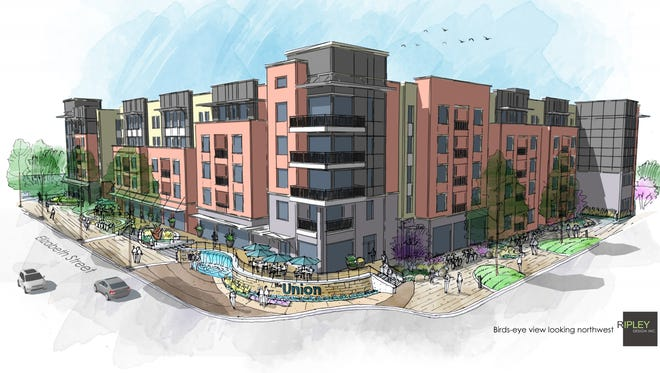 Architectural rendering of The Union, a five-story student housing project proposed just west of the intersection of Shields and West Elizabeth streets.