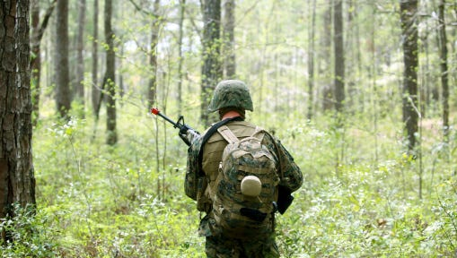 A U.S. Marine patrols through a forest during a field exercise at Marine Corps Base Camp Lejeune, N.C., on April 3, 2012. The Marine Corps has begun outreach to hundreds of thousands of veterans who served at Camp Lejeune at least 30 days from August 1953 to December 1987, inviting them or surviving spouses to file for VA compensation if veterans suffered one of eight ailments linked to water contamination on the base.