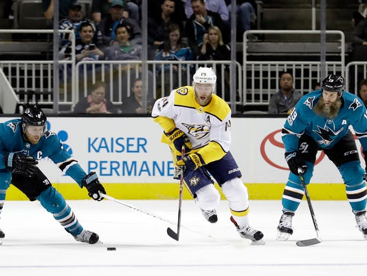 Mattias Ekholm, Joe Pavelski, Joe Thornton