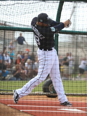Tigers outfielder J.D. Martinez takes batting practice during the first full team workout in spring training on Feb. 18, 2017, at Publix Field at Joker Marchant Stadium in Lakeland, Fla.