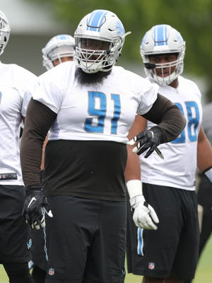 Detroit Lions defensive lineman A'Shawn Robinson goes through drills during minicamp Wednesday, June 14, 2017 at the practice facility in Allen Park.