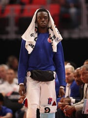 Pistons guard Reggie Jackson on the bench during the second period of the 107-97 exhibition win over the Pacers on Monday, Oct. 9, 2017, at Little Caesars Arena.