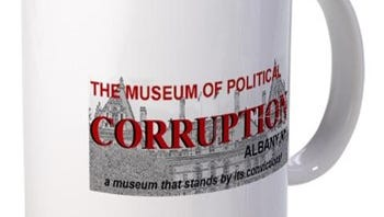 Coffee mug from the online gift shop of museum of corruption in Albany