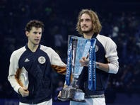 Stefanos Tsitsipas of Greece reacts after defeating Austria's Dominic Thiem to win their ATP World Finals singles final tennis match at the O2 arena in London, Sunday, Nov. 17, 2019. (AP Photo/Kirsty Wigglesworth)