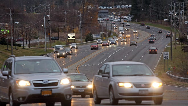 Cars travel along Route 9 in Poughkeepsie.