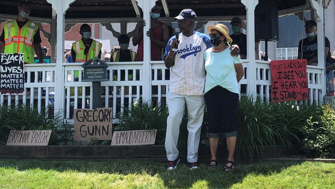 Vernon Mayor Howard Burrell, seen here with his wife Reba, addresses a Black Lives Matter rally Saturday in Newton. [Photo by Kyle Morel/New Jersey Herald
