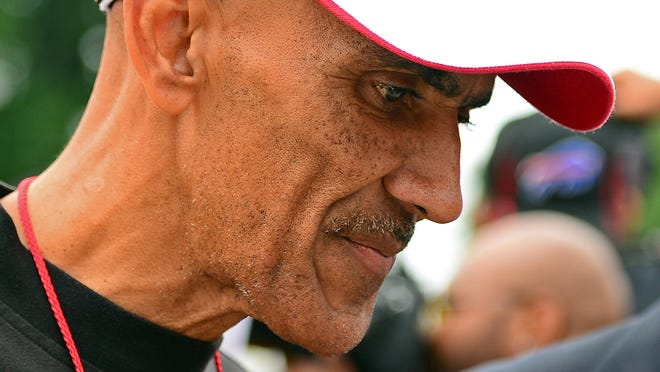 Former NFL coach Tony Dungy during the 2014 Pro Football Hall of Fame Enshrinement at Fawcett Stadium.